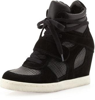 Ash Cool Suede Wedge Sneaker, Black