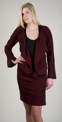 Yoana Baraschi Faux Wrap Boucle Jacket in Bordeaux