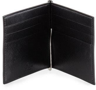 Giorgio Armani Saffiano Card Case with Clip, Black