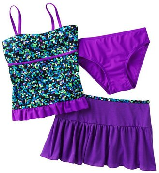 Malibu dream girl dotted 3-pc. tankini swimsuit set - girls 7-16