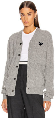 Comme des Garcons Wool Black Heart Emblem Cardigan in Light Gray | FWRD