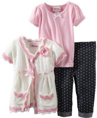 Little Lass Girls 2-6X 3 Piece Sweater Set with Dotted Denim Capri and Bow