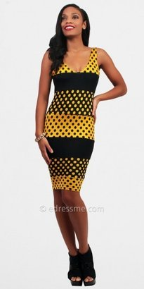 Black Yellow Dotted Casual Dresses by Rue 107