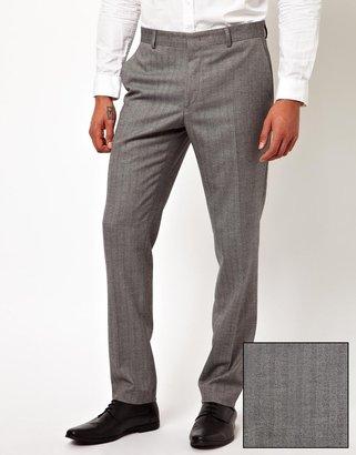Asos Skinny Fit Suit Pants In Herringbone - Grey
