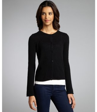 Qi black cashmere 'Kadie' button front cardigan