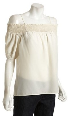 Wyatt cream silk smocked neck peasant top