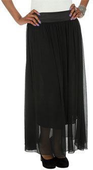 Wet Seal WetSeal Solid Chiffon Maxi Skirt Black