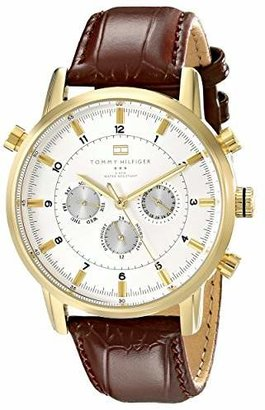 Tommy Hilfiger Men's 1790874 Gold-Tone Watch with Brown Leather Band