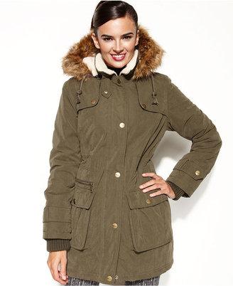 DKNY Coat, Hooded Faux-Fur-Trim Puffer