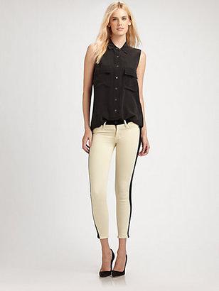 Hudson Cropped Tuxedo-Stripe Jeans