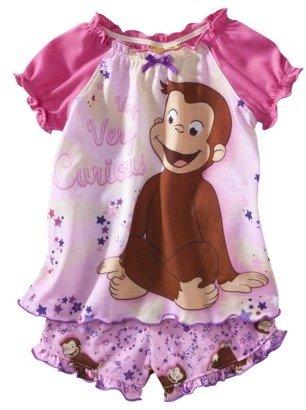 Favorite Characters Curious George Toddler Girls 2-Piece Short Pajama Set - Pink