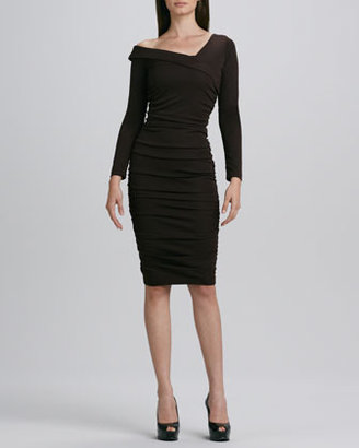 Melissa Masse Asymmetric-Neck Ruched Dress