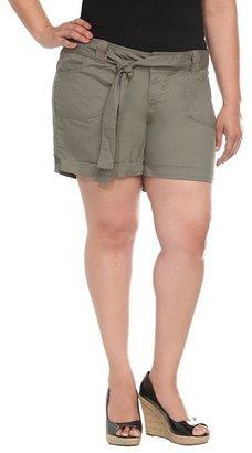 Olive Belted Poplin Shorts