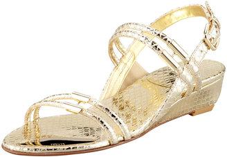 Stuart Weitzman Rolldown Metallic Micro-Wedge Sandal, Pale Gold