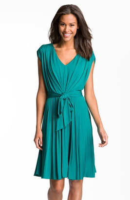 Suzi Chin for Maggy Boutique Pleated V-Neck Jersey Dress