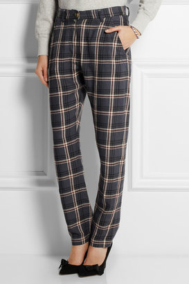 Etoile Isabel Marant Umber checked linen-blend tapered pants