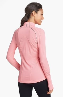 Zella 'Ruched Runner' Stripe Half Zip Running Top