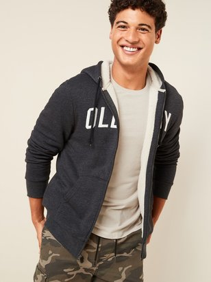 Old Navy Cozy Sherpa-Lined Logo-Graphic Zip Hoodie for Men