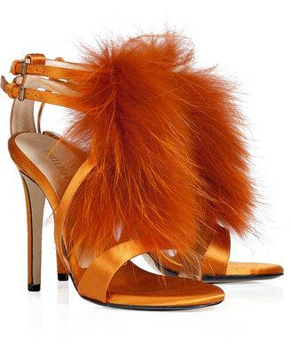 Emilio Pucci Mango Fur Trimmed Satin Sandals
