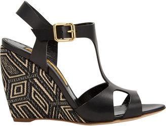 Rupert Sanderson Mitzy T-Strap Wedge Sandals