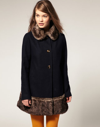 Asos Coat With Faux Fur Collar and Hem