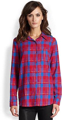 Splendid Juniper Metallic-Detailed Plaid Flannel Shirt