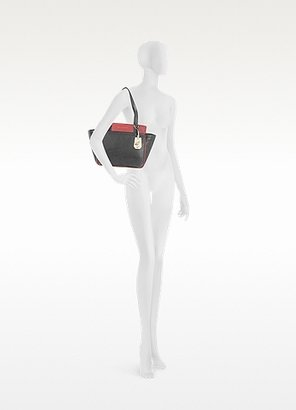 Diane von Furstenberg On the Go Black and Red Leather Tote