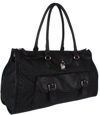 Jessica Simpson Madison Perforated Large Satchel (Black) - Bags and Luggage