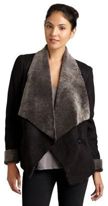 Blue Duck black and grey dyed shearling oversized drape collar jacket