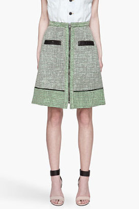 Proenza Schouler Mint green and black leather-trimmed a-line Skirt