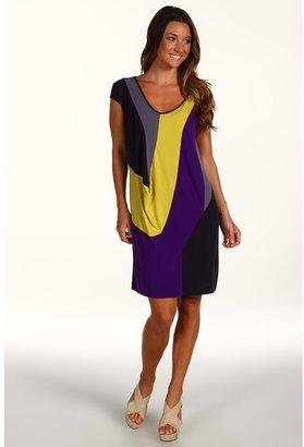 Suzi Chin for Maggy Boutique - S/L Drape Sleeve V-Neck Color Block Dress (Shadow Multi) - Apparel