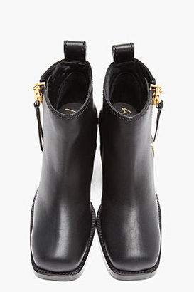 Giuseppe Zanotti Black Leather Gold-Plated Birel Ankle Boots