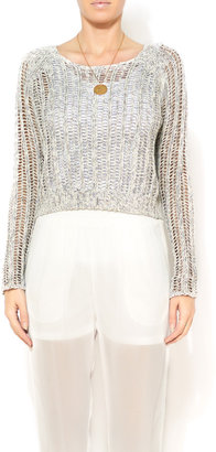 Velvet White Knit Cropped Dolman