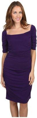 Calvin Klein Short Sleeve Ruched Dress (Night) - Apparel