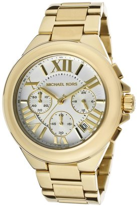 Michael Kors Women's Chronograph Light Silver Dial Gold Tone Ion Plated Stainless Steel