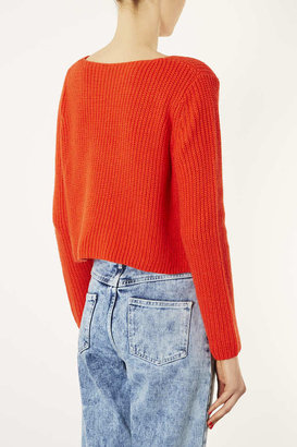 Topshop Knitted Rib Detail Crop Jumper
