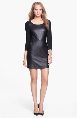 Diane von Furstenberg 'Zarita' Leather Front Sheath Dress