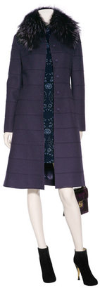 Alberta Ferretti Purple Wool Coat with Removable Fur Collar