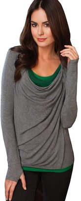 Cuddl Duds second layer softwear + stretch drapeneck wrap top - women's