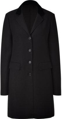 Jil Sander Navy Black Contrast Collar Coat