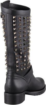 Valentino Noir Rockstud Tall Motorcycle Boot