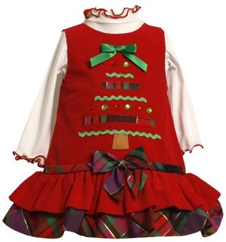 Bonnie Baby girls Newborn Corduroy Jumper Set With Tiered Skirt