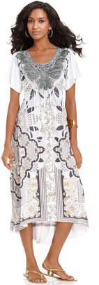 Style&Co. Dress, Short-Sleeve Sublimated-Print High-Low
