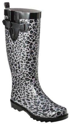 Women's Riley Leopard Print Rainboot - Gray
