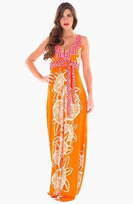 Olian Maternity Print Maxi Dress