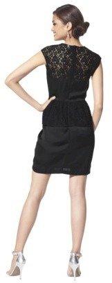 TEVOLIO Women's Lace Overlay Dress w/Peplum Waist - Assorted Colors