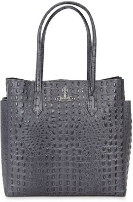 Vivienne Westwood Johanna Large Grey Leather Tote