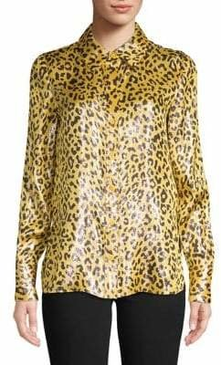 Diane von Furstenberg Animal-Print Long-Sleeve Top