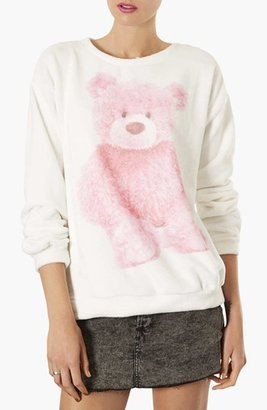 Topshop Teddy Bear Furry Sweatshirt