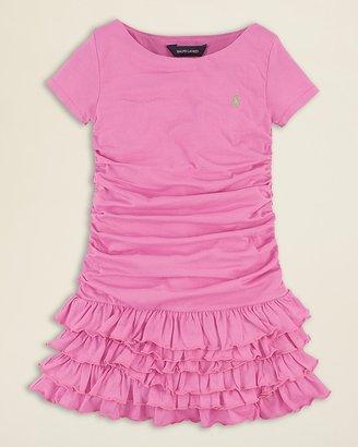 Ralph Lauren Girls' Jersey Ruched Dress - Sizes 2-6X